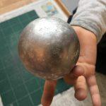 アルミホイル鉄球の完成